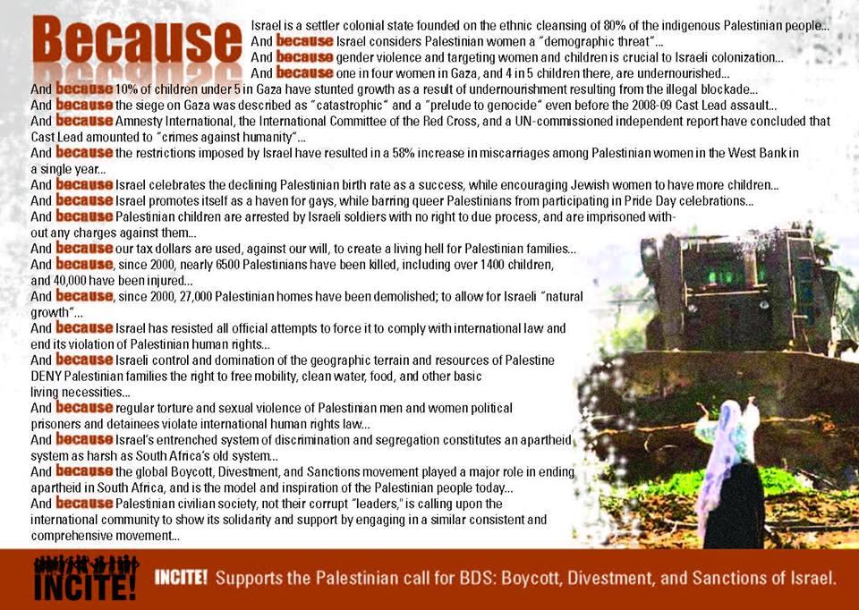 manifesto di INCITE per la Palestina. Clicca per ingrandire