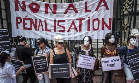 sex workers take part in an anti-abolition demonstration takes part in a demo