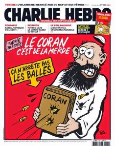 """Quando il dittatore egiziano prese il potere e iniziò a sparare ai musulmani che dissentivano, la rivista Charlie Hebdo ha pubblicato una copertina dal titolo """"Il Corano è merda e non è in grado di fermare i proiettili"""". Immaginate se oggi avessero fatto lo stesso i musulmani, lo avreste trovato divertente?"""
