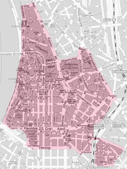 """Mappa di Düsseldorf. """"Sperrgebiet"""", ovvero aree in cui qualunque forma di lavoro sessuale è proibita. Fonte: https://www.duesseldorf.de/ordnungsamt/bilder/sperrbezirk.jpg"""