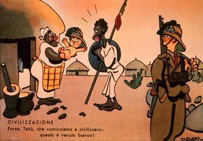 """Illustrazione """"umoristica"""" di Enrico De Seta ad uso dei soldati italiani impegnati nelle campagne coloniali"""