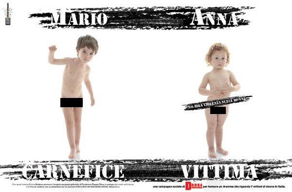 Questa è una vecchia campagna firmata Toscani per Donna Moderna. Orrenda perché attribuisce ruoli di carnefice e vittima in rapporto al sesso biologico e al genere.
