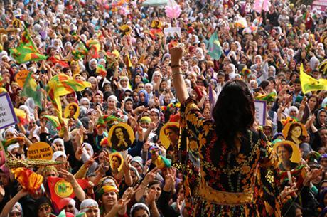 Ayla Akat Ata, spokeswoman of Free Women's Congress (KJA), 8th March celebration 2014 when she was still an MP.