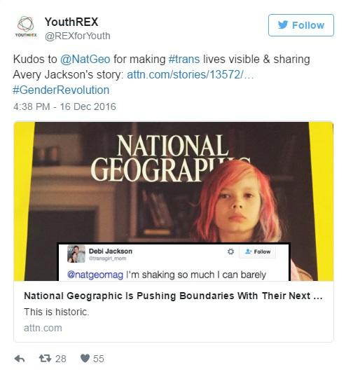 [Lode a @NatGeo per aver reso visibili le vite dei trans e aver condiviso la storia di Avery Jackson ]