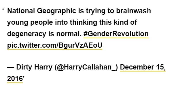 [Il National Geographic sta cercando di fare il lavaggio del cervello ai giovani per convincerli che una simile degenerazione sia normale. ]
